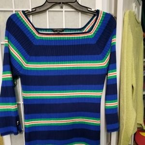 Blue and green striped casual knit top, size L